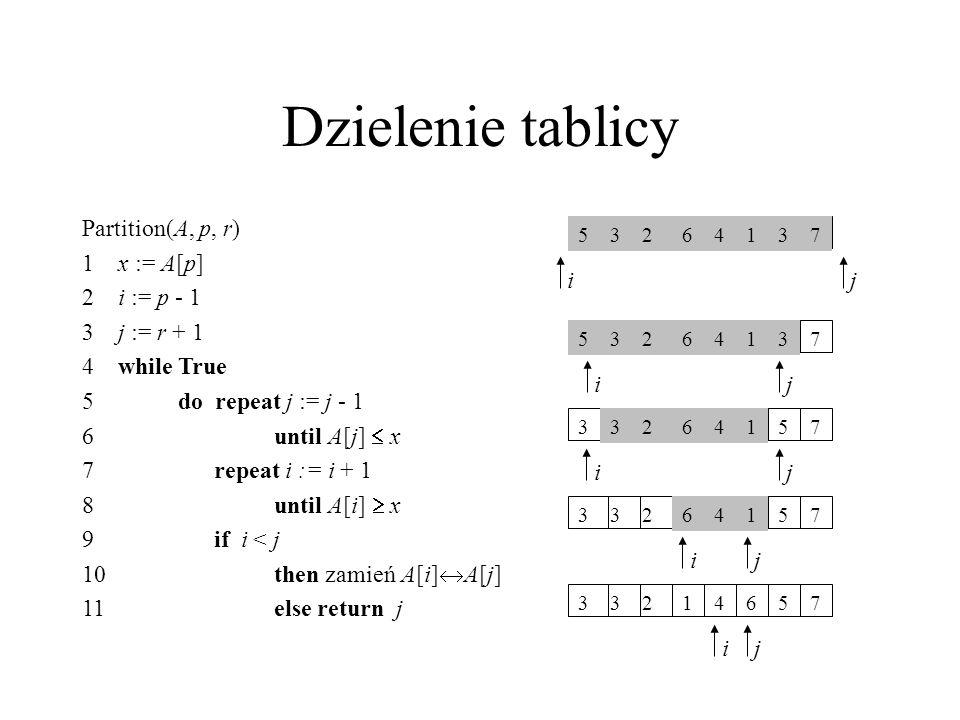 Dzielenie tablicy Partition(A, p, r) 1 x := A[p] 2 i := p - 1
